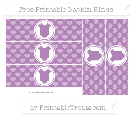 Free Pastel Light Plum Heart Pattern Baby Onesie Napkin Rings