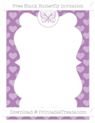 Free Pastel Light Plum Heart Pattern Blank Butterfly Invitation