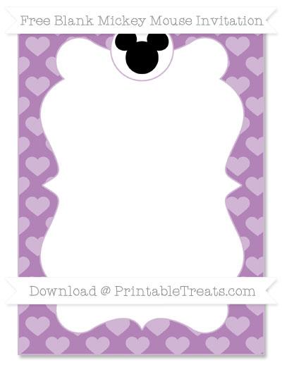 Free Pastel Light Plum Heart Pattern Blank Mickey Mouse Invitation