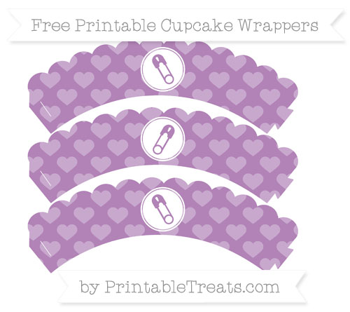 Free Pastel Light Plum Heart Pattern Diaper Pin Scalloped Cupcake Wrappers