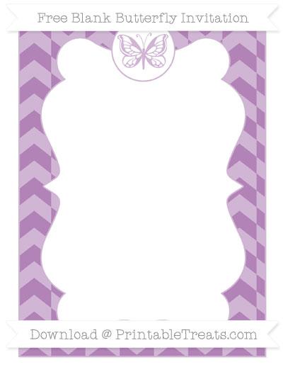 Free Pastel Light Plum Herringbone Pattern Blank Butterfly Invitation