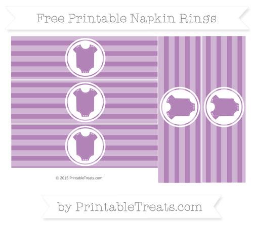 Free Pastel Light Plum Horizontal Striped Baby Onesie Napkin Rings