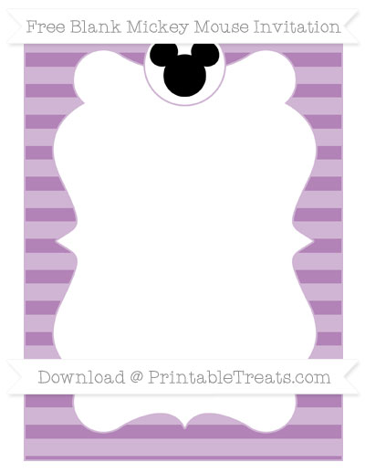 Free Pastel Light Plum Horizontal Striped Blank Mickey Mouse Invitation