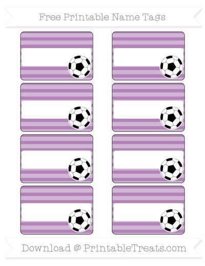 Free Pastel Light Plum Horizontal Striped Soccer Name Tags