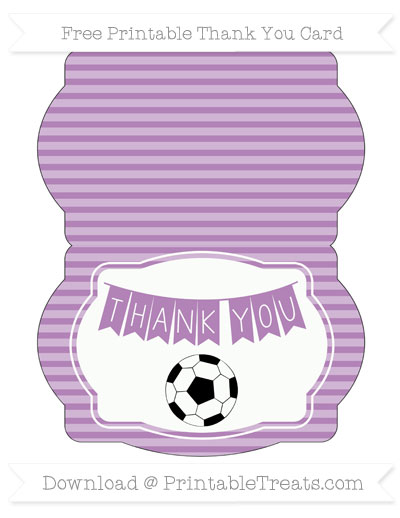 Free Pastel Light Plum Horizontal Striped Soccer Thank You Card