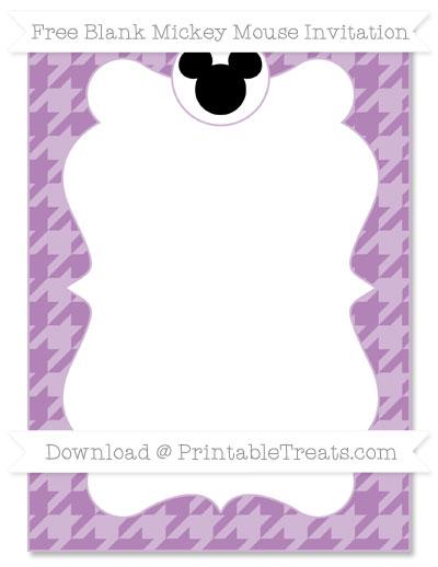 Free Pastel Light Plum Houndstooth Pattern Blank Mickey Mouse Invitation
