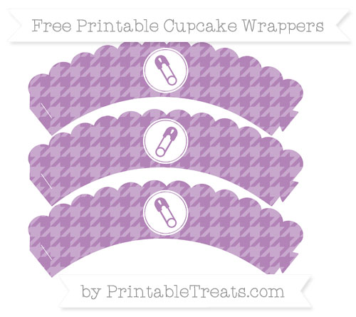 Free Pastel Light Plum Houndstooth Pattern Diaper Pin Scalloped Cupcake Wrappers