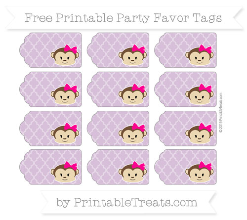 Free Pastel Light Plum Moroccan Tile Girl Monkey Party Favor Tags