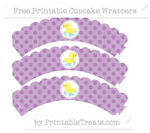 Free Pastel Light Plum Polka Dot Baby Duck Scalloped Cupcake Wrappers