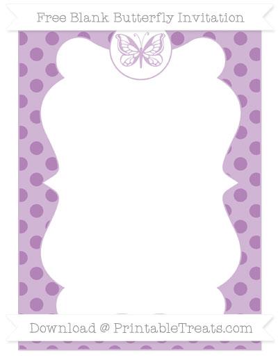 Free Pastel Light Plum Polka Dot Blank Butterfly Invitation