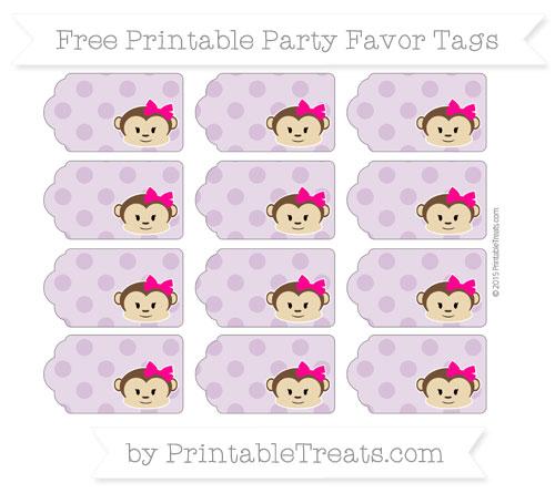 Free Pastel Light Plum Polka Dot Girl Monkey Party Favor Tags