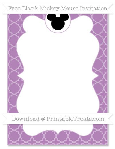 Free Pastel Light Plum Quatrefoil Pattern Blank Mickey Mouse Invitation