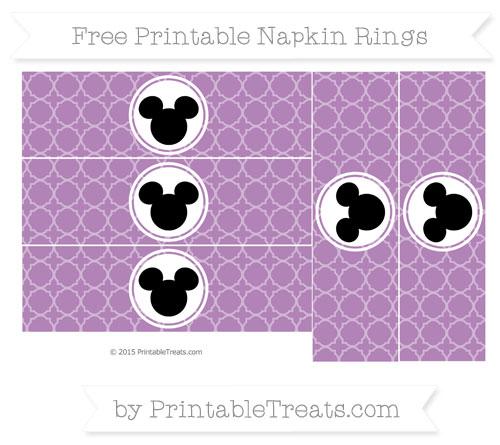 Free Pastel Light Plum Quatrefoil Pattern Mickey Mouse Napkin Rings