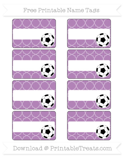 Free Pastel Light Plum Quatrefoil Pattern Soccer Name Tags