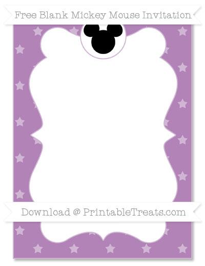 Free Pastel Light Plum Star Pattern Blank Mickey Mouse Invitation