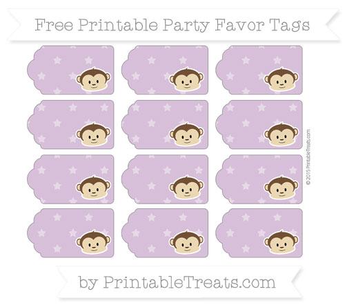 Free Pastel Light Plum Star Pattern Boy Monkey Party Favor Tags