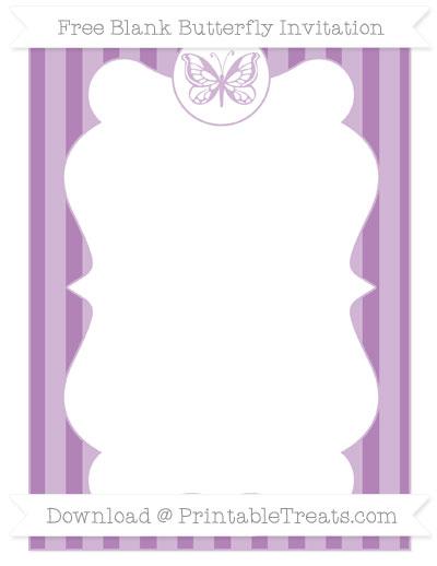 Free Pastel Light Plum Striped Blank Butterfly Invitation