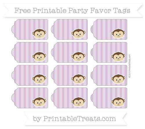 Free Pastel Light Plum Striped Boy Monkey Party Favor Tags