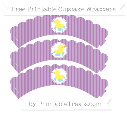Free Pastel Light Plum Thin Striped Pattern Baby Duck Scalloped Cupcake Wrappers