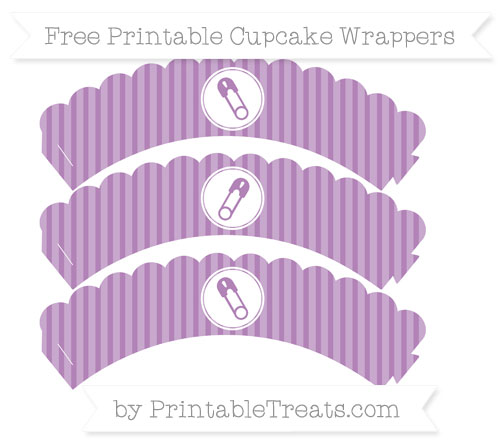 Free Pastel Light Plum Thin Striped Pattern Diaper Pin Scalloped Cupcake Wrappers