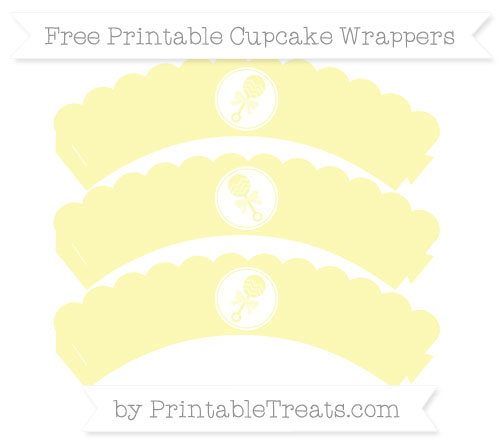 Free Pastel Light Yellow Baby Rattle Scalloped Cupcake Wrappers
