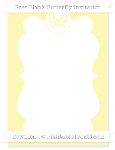 Free Pastel Light Yellow Blank Butterfly Invitation