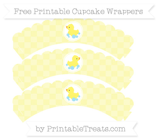 Free Pastel Light Yellow Checker Pattern Baby Duck Scalloped Cupcake Wrappers