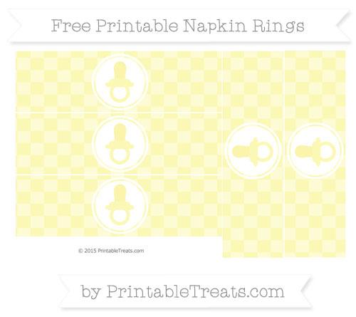 Free Pastel Light Yellow Checker Pattern Baby Pacifier Napkin Rings