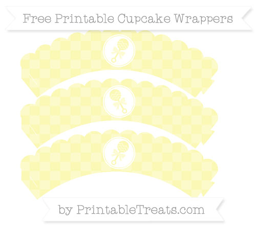 Free Pastel Light Yellow Checker Pattern Baby Rattle Scalloped Cupcake Wrappers