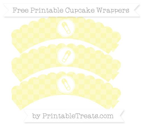 Free Pastel Light Yellow Checker Pattern Diaper Pin Scalloped Cupcake Wrappers