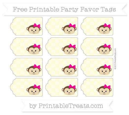 Free Pastel Light Yellow Checker Pattern Girl Monkey Party Favor Tags