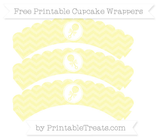 Free Pastel Light Yellow Chevron Baby Rattle Scalloped Cupcake Wrappers