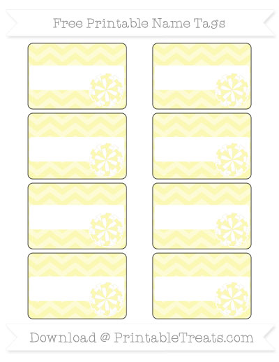 Free Pastel Light Yellow Chevron Cheer Pom Pom Tags