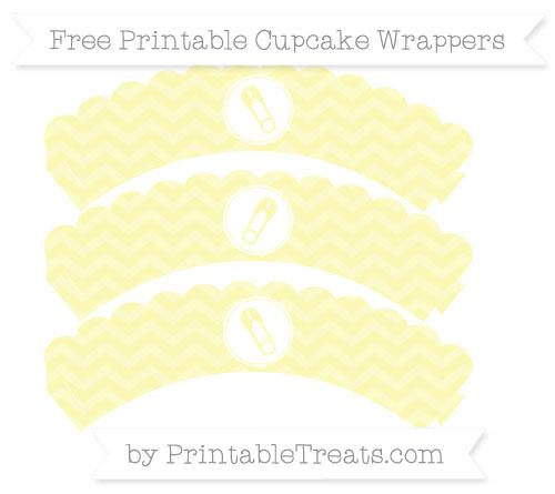 Free Pastel Light Yellow Chevron Diaper Pin Scalloped Cupcake Wrappers