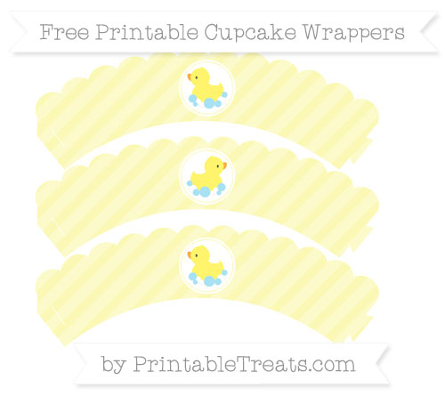 Free Pastel Light Yellow Diagonal Striped Baby Duck Scalloped Cupcake Wrappers
