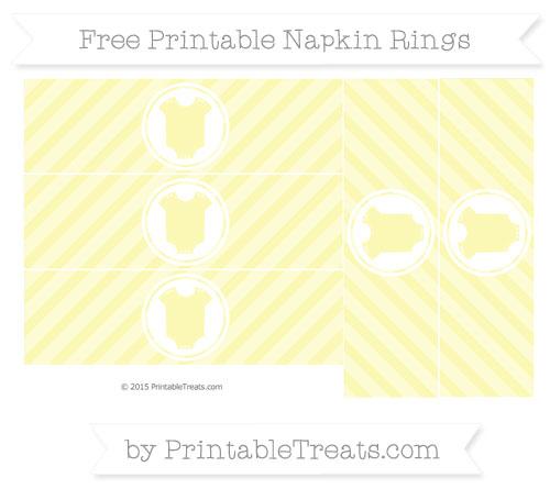 Free Pastel Light Yellow Diagonal Striped Baby Onesie Napkin Rings