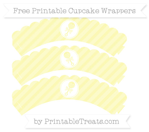 Free Pastel Light Yellow Diagonal Striped Baby Rattle Scalloped Cupcake Wrappers