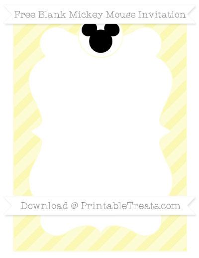 Free Pastel Light Yellow Diagonal Striped Blank Mickey Mouse Invitation