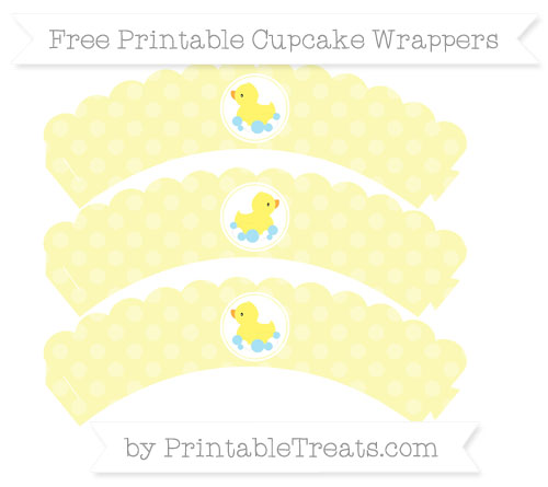 Free Pastel Light Yellow Dotted Pattern Baby Duck Scalloped Cupcake Wrappers