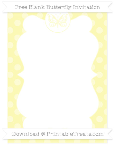 Free Pastel Light Yellow Dotted Pattern Blank Butterfly Invitation