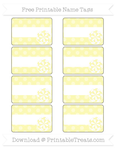 Free Pastel Light Yellow Dotted Pattern Cheer Pom Pom Tags