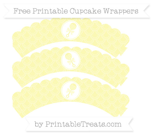 Free Pastel Light Yellow Fish Scale Pattern Baby Rattle Scalloped Cupcake Wrappers