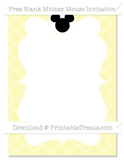 Free Pastel Light Yellow Fish Scale Pattern Blank Mickey Mouse Invitation