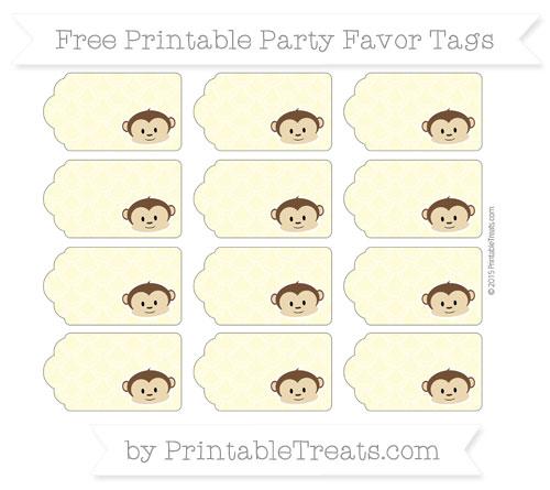 Free Pastel Light Yellow Fish Scale Pattern Boy Monkey Party Favor Tags
