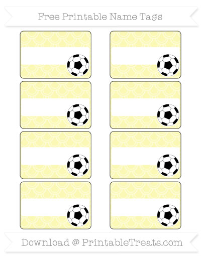 Free Pastel Light Yellow Fish Scale Pattern Soccer Name Tags