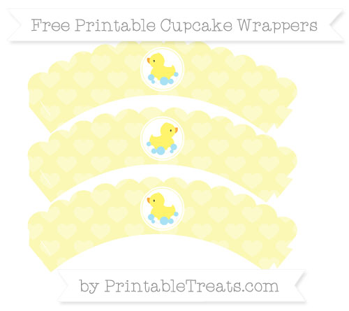 Free Pastel Light Yellow Heart Pattern Baby Duck Scalloped Cupcake Wrappers