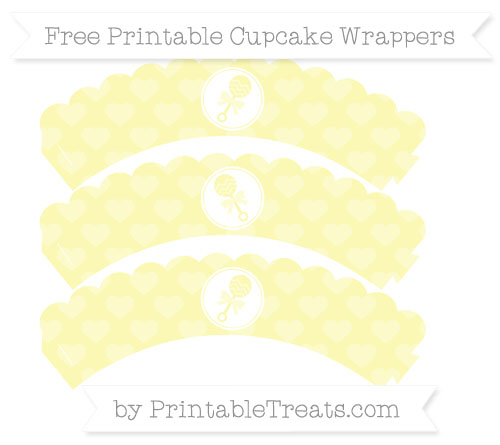 Free Pastel Light Yellow Heart Pattern Baby Rattle Scalloped Cupcake Wrappers