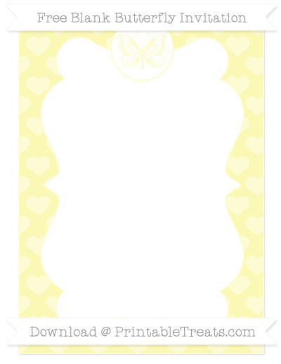 Free Pastel Light Yellow Heart Pattern Blank Butterfly Invitation