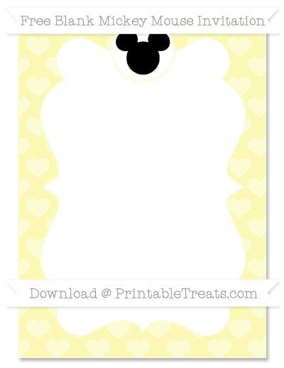 Free Pastel Light Yellow Heart Pattern Blank Mickey Mouse Invitation