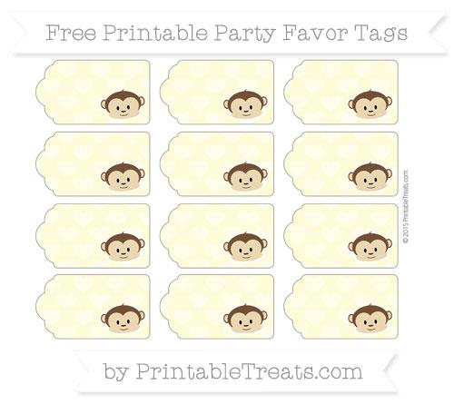 Free Pastel Light Yellow Heart Pattern Boy Monkey Party Favor Tags